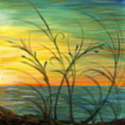 Blazing Sunrise And Grasses In Blue Poster