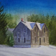 Blind River Homestead In Winter Poster