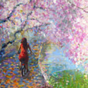 Blossom Alley Impressionistic Painting Poster