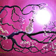 Blossoms In Fuchsia Moonlight Poster