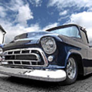 Blue 57 Stepside Chevy Poster