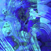 Blue Abstract Art - Reflections - Sharon Cummings Poster