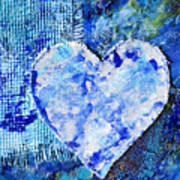 Blue Abstract Painting With Heart Poster