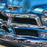 Blue And Chrome Chevy Pickup Front End Poster