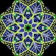 Blue And Green Flower Mandala Poster