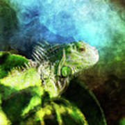 Blue And Green Iguana Profile Poster