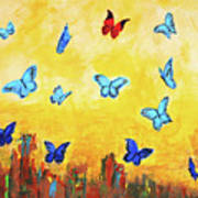 Blue And Red Butterflies Poster