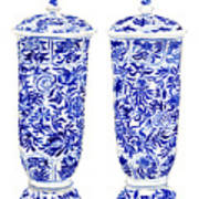Blue And White Chinoiserie Vases Poster