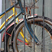 Blue And Yellow Bikes Poster