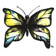 Blue And Yellow Watercolor Butterfly Poster