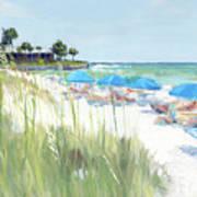 Blue Beach Umbrellas, Crescent Beach, Siesta Key - Wide Poster