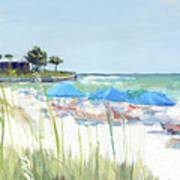 Blue Beach Umbrellas On Point Of Rocks, Crescent Beach, Siesta Key Wide-narrow Poster