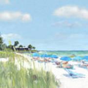 Blue Beach Umbrellas, Point Of Rocks, Crescent Beach, Siesta Key Poster