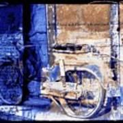 Blue Bike Abandoned India Rajasthan Blue City 2c Poster