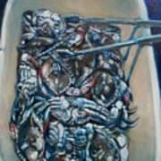 Blue Blue Crabs Poster by Sheila Tajima