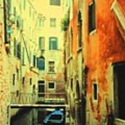 Blue Boat In Venice  Poster