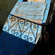 Blue Boat In Venice With Shadow Poster