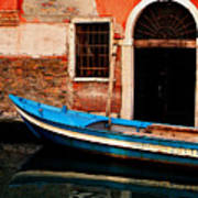 Blue Boat Venice Italy Poster