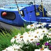 Blue Boat With Daisies Poster