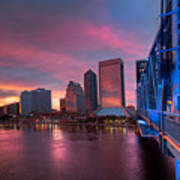 Blue Bridge Red Sky Jacksonville Skyline Poster
