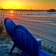 Blue Chairs Pier Sunrise Poster