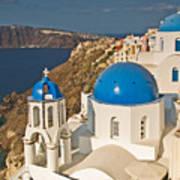 Blue Churches Of Santorini Poster by Jim Chamberlain