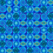 Blue Circles Abstract Art By Sharon Cummings Poster