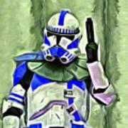 Blue Commander Stormtrooper At Work - Pa Poster