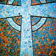Blue Marbled Cross Poster