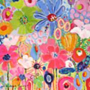 Blue Daisy Flower Garden Poster