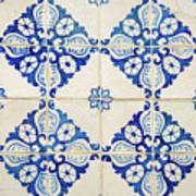 Blue Diamond Flower Tiles Poster