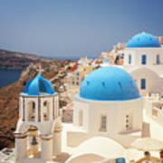 Blue Domed Churches Santorini Poster