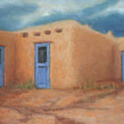Blue Doors In Taos Poster by Jerry McElroy