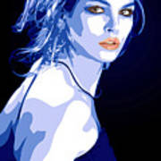 Blue Dress Poster by Tanya Byrd