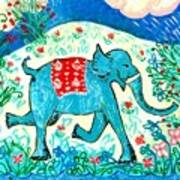Blue Elephant Facing Right Poster by Sushila Burgess