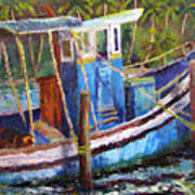 Blue Fishing Boat Poster