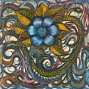 Blue Flower with Yellow Leaves  Poster
