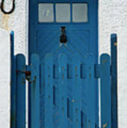 Blue Gate And Door On White House Poster