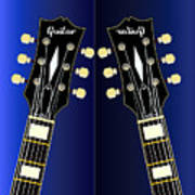 Blue Guitar Reflections Poster