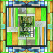 Blue Heron Stained Glass Poster