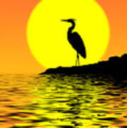 Blue Heron Sunset Poster
