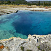 Blue Hot Springs Yellowstone National Park Poster