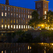 Blue Hour Over The Cocheco Mills Dover New Hampshire Poster