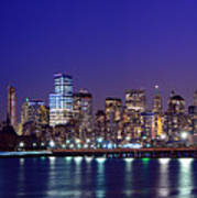 Blue Hour Panorama New York World Trade Center With Freedom Tower From Liberty State Park Poster
