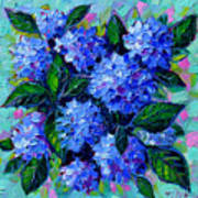 Blue Hydrangeas - Abstract Floral Composition Poster