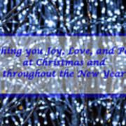 Blue Lights Abstract Christmas Poster