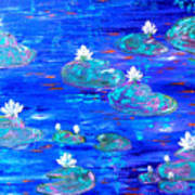 Blue Lily Pond Poster