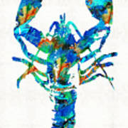 Blue Lobster Art By Sharon Cummings Poster