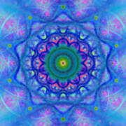 Blue Mandala For Heart Chakra Poster