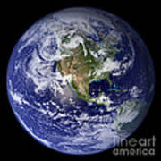 Blue Marble Earth, North America Poster